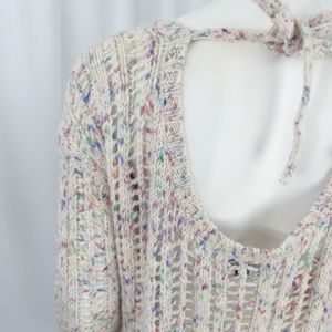 American Eagle Ivory Crochet Open Knit Pull Over S
